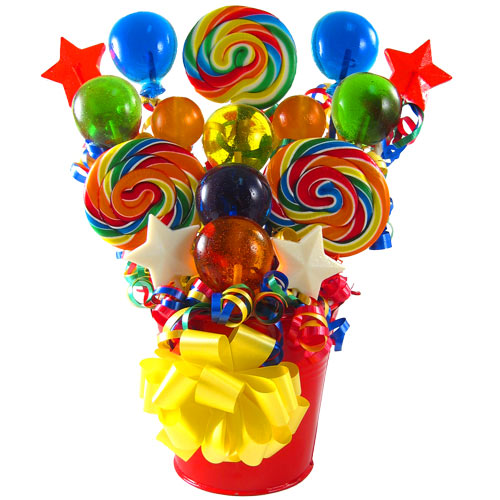 Festive swirl lollipop bouquet